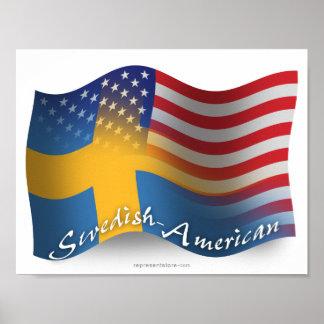 Swedish-American Waving Flag Poster
