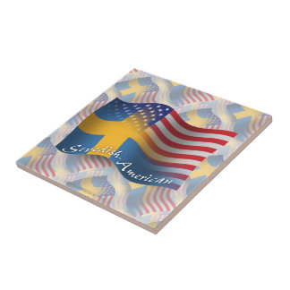 Swedish-American Waving Flag Small Square Tile