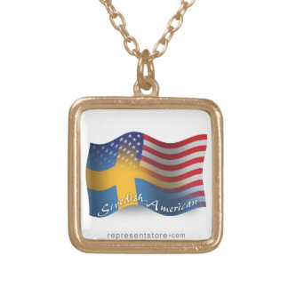 Swedish-American Waving Flag Square Pendant Necklace