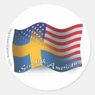 Swedish-American Waving Flag Round Stickers
