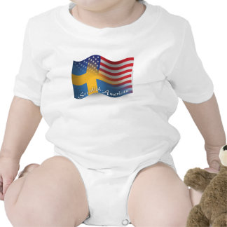 Swedish-American Waving Flag Baby Bodysuit