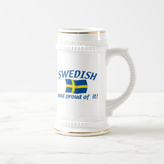 Swedish and Proud 18 Oz Beer Stein