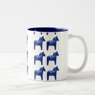 Swedish Blue Dala Horse Pattern Scandinavian Two-Tone Coffee Mug
