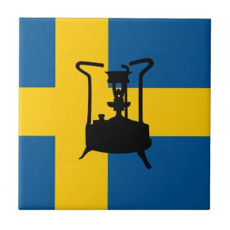 Swedish brass pressure stove small square tile