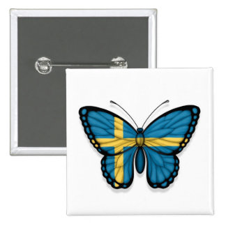 Swedish Butterfly Flag Buttons