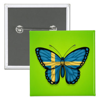 Swedish Butterfly Flag on Green Pinback Buttons