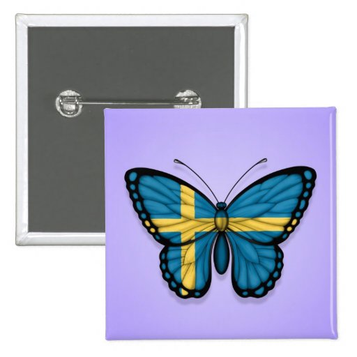 Swedish Butterfly Flag on Purple Buttons