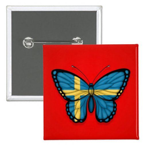 Swedish Butterfly Flag on Red Button