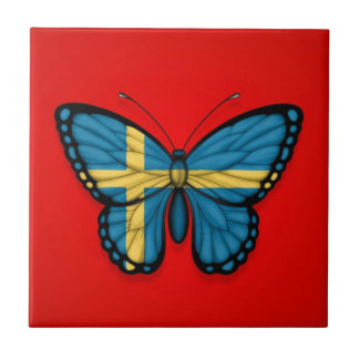 Swedish Butterfly Flag on Red Ceramic Tiles