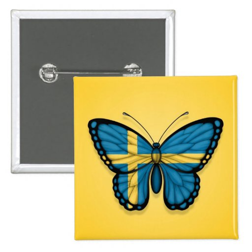 Swedish Butterfly Flag on Yellow Buttons