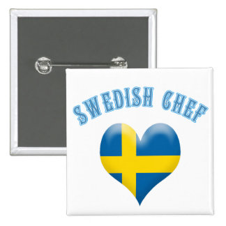 Swedish Chef Heart Shaped Flag of Sweden Buttons