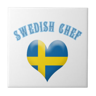 Swedish Chef Heart Shaped Flag of Sweden Small Square Tile