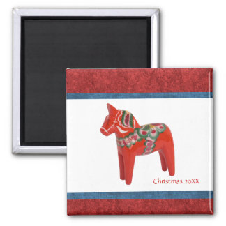 Swedish Christmas Dala Horse Custom Dated Magnet