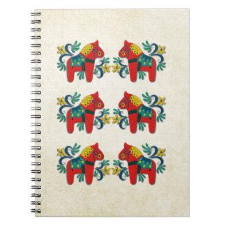 Swedish Christmas Dala Horse Scandinavian Twins Spiral Notebook