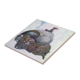Swedish Christmas Goat: Julebukking - Tile/Trivet Small Square Tile