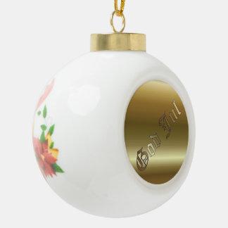 Swedish Christmas Poinsettia Ceramic Ball Ornament