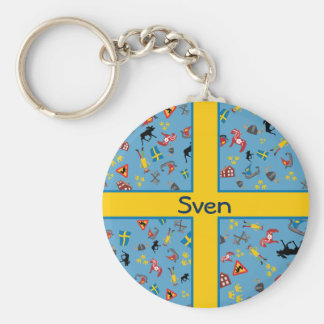 Swedish culture items with flag basic round button key ring