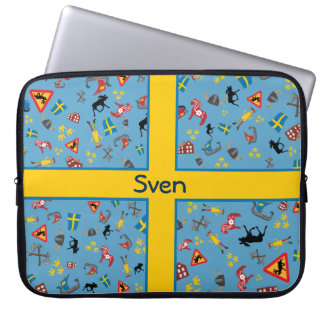 Swedish culture items with flag laptop sleeve
