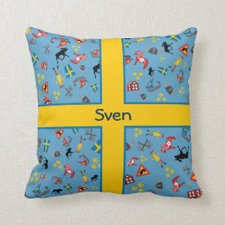 Swedish culture items with flag throw cushions