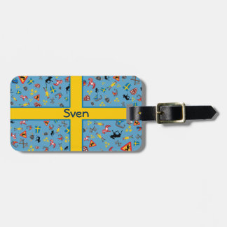 Swedish culture items with flag travel bag tags