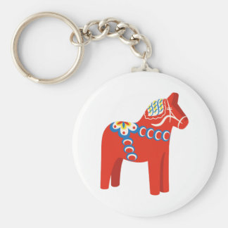Swedish Dala Horse Basic Round Button Key Ring