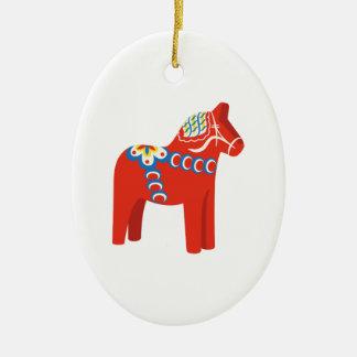Swedish Dala Horse Ceramic Ornament