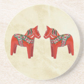 Swedish Dala Horse Christmas Twins Coaster