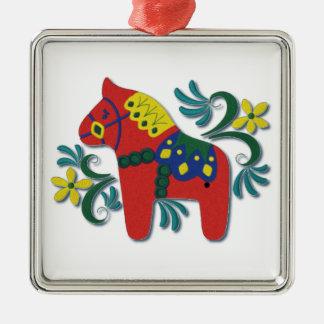 Swedish Dala Horse Colorful Whimsical Metal Ornament