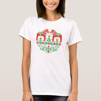 Swedish Dala horse floral folk pattern T-Shirt