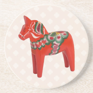 Swedish Dala Horse  Folk Art Coaster