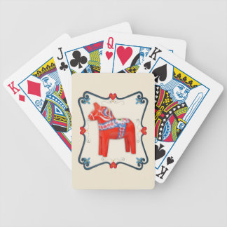 Swedish Dala Horse Folk Art Framed Poker Deck