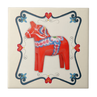 Swedish Dala Horse Folk Art Framed Small Square Tile