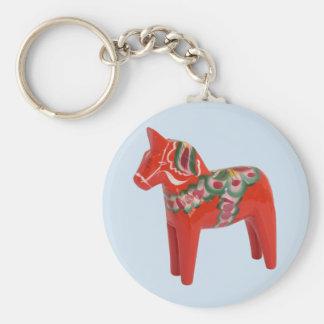 Swedish Dala Horse Scandinavian Basic Round Button Key Ring