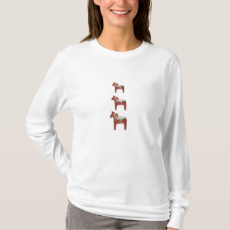 Swedish Dala Horse Trio Scandinavian Folk Art T-Shirt