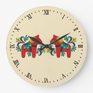 Swedish Dala Horse Twins Scandinavian Large Clock