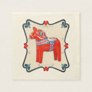 Swedish Dala Horse with Heart Scallop Frame Paper Napkin
