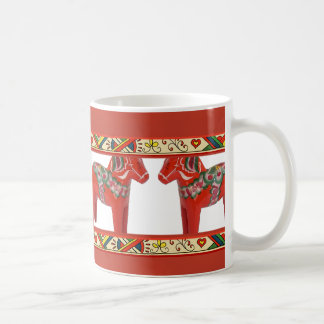 Swedish Dala Horses with Christmas Folk Art Border Coffee Mug