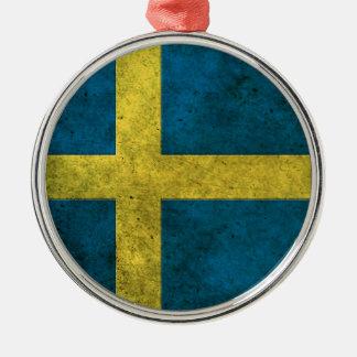 Swedish Flag Aged Steel Effect Ornament