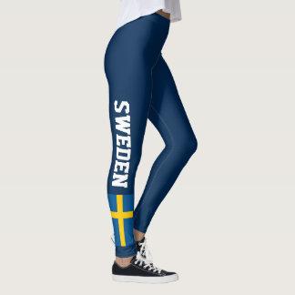 Swedish flag custom dark leggings for Sweden