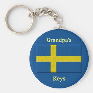 Swedish Flag Custom Name or Family Member Basic Round Button Key Ring
