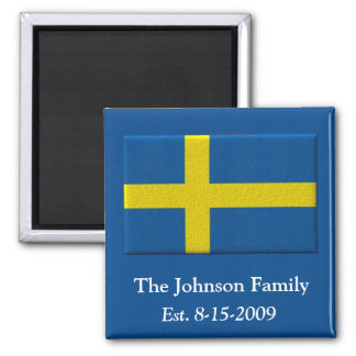 Swedish Flag Family Name and Date Square Magnet
