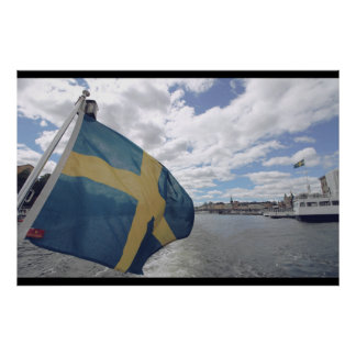 Swedish Flag in Stockholm, Sweden; Water; Summer Poster
