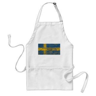Swedish Flag on Rough Wood Boards Effect Standard Apron