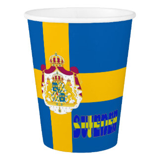 Swedish flag paper cup