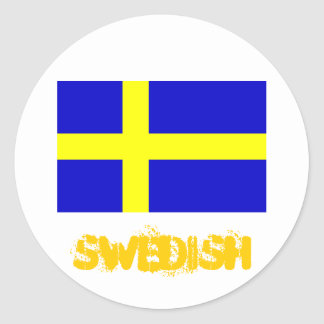 Swedish flag round stickers