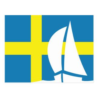 Swedish Flag Sailing Boat Sweden Nautical Postcard