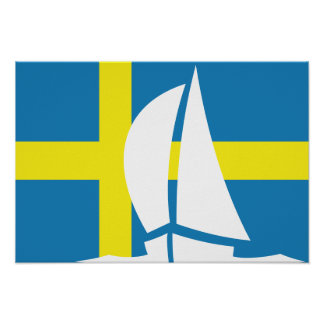 Swedish Flag Sailing Yacht Sweden Nautical Poster
