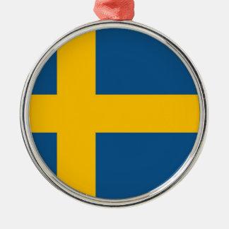 Swedish Flag Silver-Colored Round Decoration