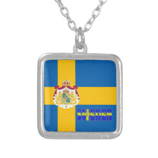 Swedish flag silver plated necklace