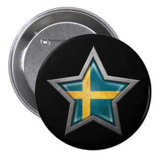 Swedish Flag Star on Black Pin